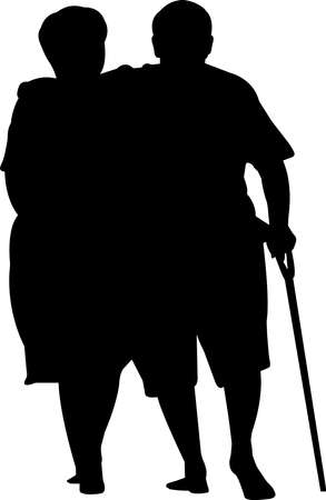 Senior Couple Walking Silhouette Vector