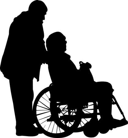 Couple in Wheelchair Silhouette Vector