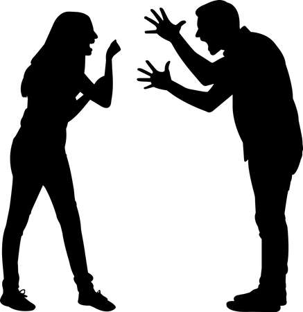 Couples Angry Silhouette Vector