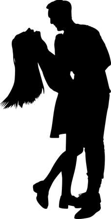 Couples Hugging Silhouette Vector