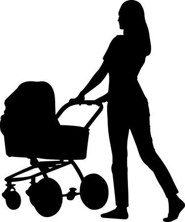 Woman with Stroller Silhouette Vector