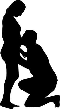 Pregnant Couple Silhouette Vector Vector Illustratie