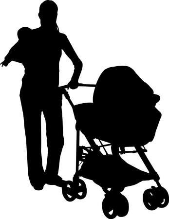 Woman with Stroller Silhouette Vector Vecteurs