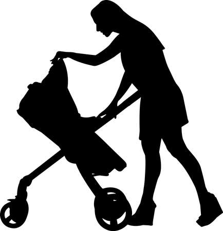 Woman with Stroller Silhouette Vector Illustration