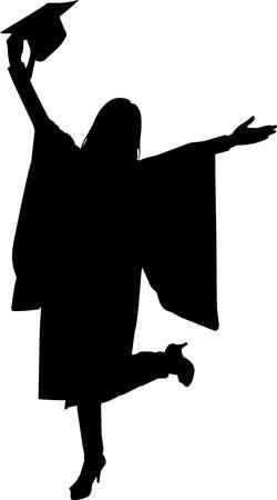 Woman Graduate Silhouette Vector