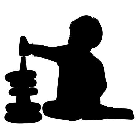 Baby Playing Vector Silhouette Vector Illustration
