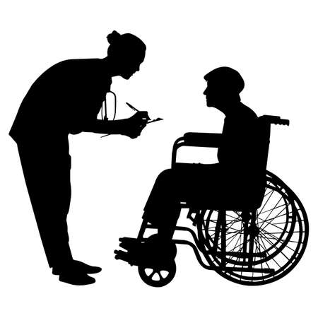 Elderly Care Vector Silhouette Векторная Иллюстрация