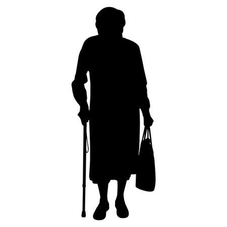 Old Woman  Vector Silhouette