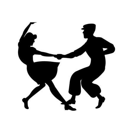 Swing Dance Silhouette Vector Ilustración de vector