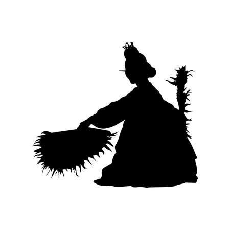 Korean Fan Dance Silhouette Vector