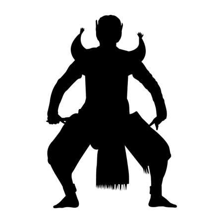 Thai Khon Dance Silhouette Vector Ilustración de vector