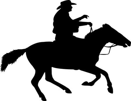 Cowboy-Rancher-Rodeo Silhouette Vector