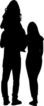 Couple with Daughter Silhouette Vector 矢量图像