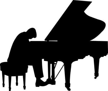 Pianist Silhouette Vector Ilustración de vector