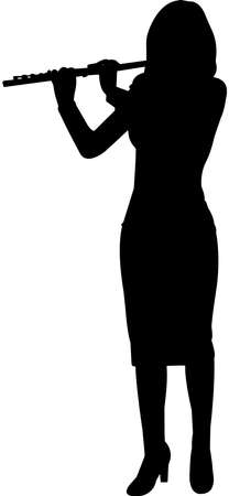 Flute Player Silhouette Vector