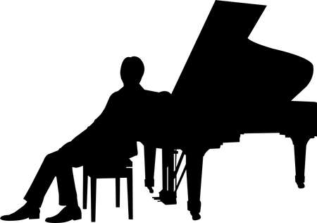 Pianist Silhouette Vector Illustration