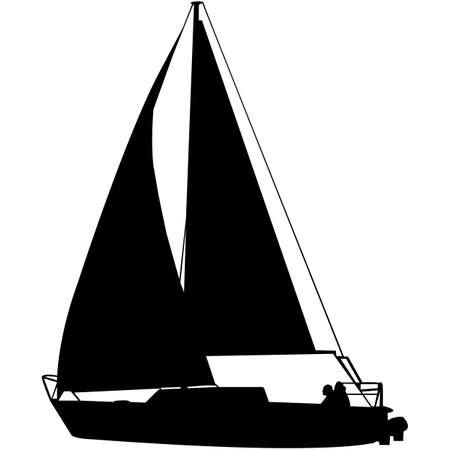 Sail Boat Silhouette Vector