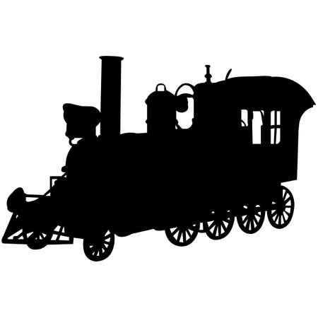 Steam Engine  Silhouette Vector