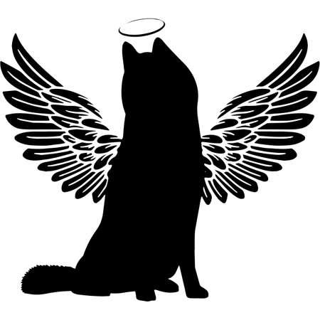 Pet Memorial, Angel Wings Siberian Husky Silhouette Vector