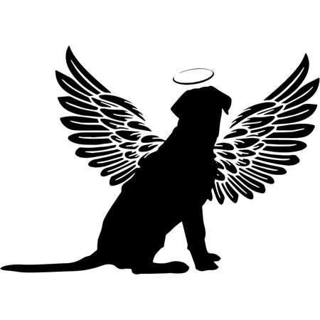 Pet Memorial, Angel Wings Labrador Retriever Dog  Silhouette Vector 写真素材 - 158427450