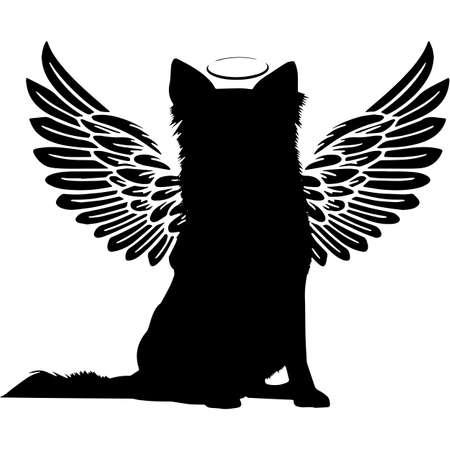 Pet Memorial, Angel Wings Border Collie Silhouette Vector