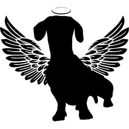 Pet Memorial, Angel Wings Dachshund Dog  Silhouette Vector Illustration