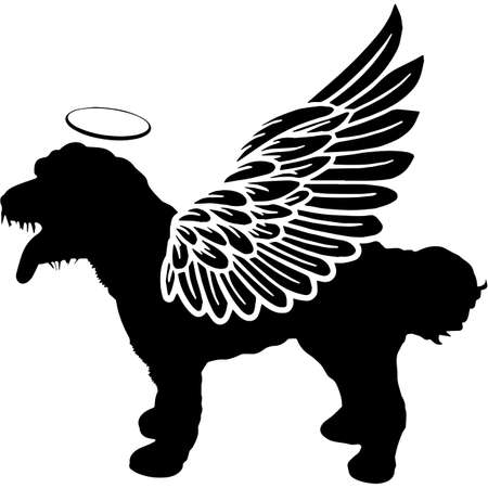 Pet Memorial, Angel Wings Cockapoo  Silhouette Vector 写真素材 - 158427453