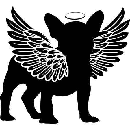 Pet Memorial, Angel Wings French Bulldog Dog  Silhouette Vector 写真素材 - 158427454