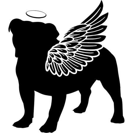Pet Memorial, Angel Wings Bulldog  Silhouette Vector