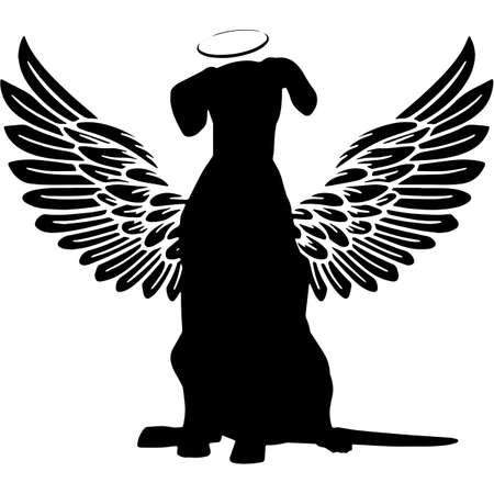 Pet Memorial, Angel Wings Dalmatian  Silhouette Vector 写真素材 - 158427456