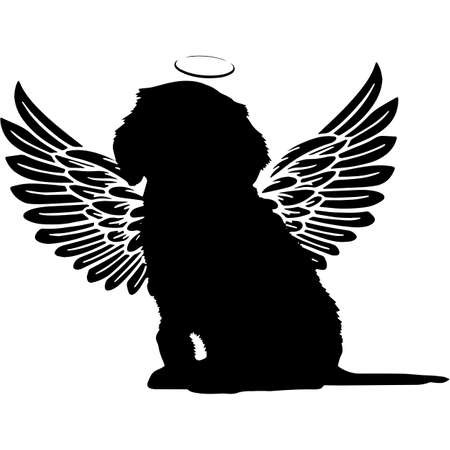 Pet Memorial, Angel Wings Cockapoo Silhouette Vector