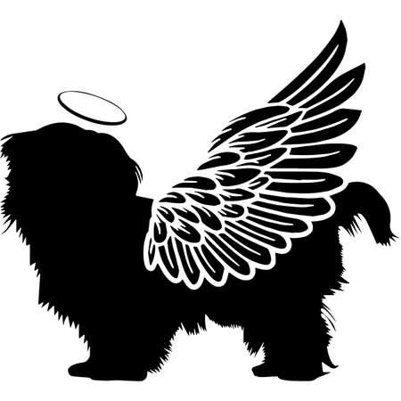 Pet Memorial, Angel Wings Shih Tzu Dog  Silhouette Vector 写真素材 - 158427459