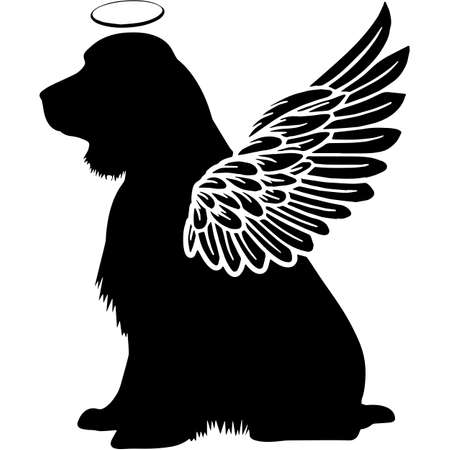 Pet Memorial, Angel Wings English Springer Spaniel  Silhouette Vector Illustration