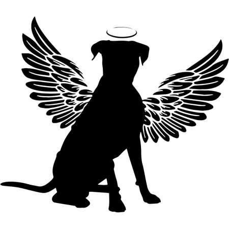 Pet Memorial, Angel Wings Boxer Dog  Silhouette Vector