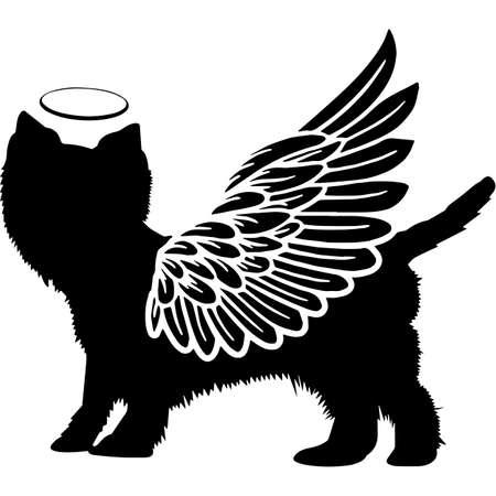 Pet Memorial, Angel Wings West Highland White Terrier  Silhouette Vector 写真素材 - 158516582