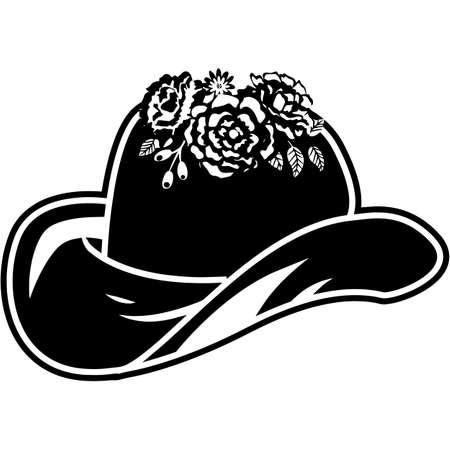 Floral Cowboy Hat Silhouette Vector 写真素材 - 158516584