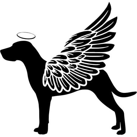 Pet Memorial, Angel Wings Coonhound  Silhouette Vector  イラスト・ベクター素材