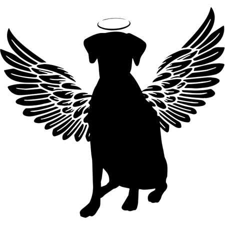 Pet Memorial, Angel Wings American Foxhound Silhouette Vector