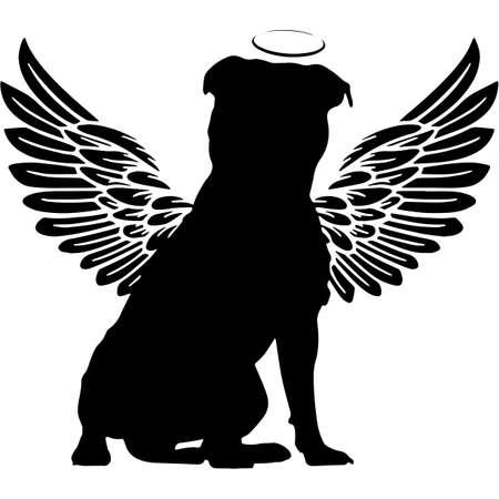 Pet Memorial, Angel Wings Staffordshire Bull Terrier Dog Silhouette Vector