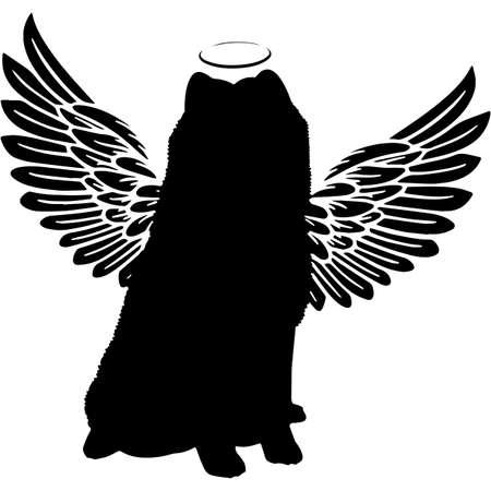 Pet Memorial, Angel Wings Samoyed  Silhouette Vector Иллюстрация