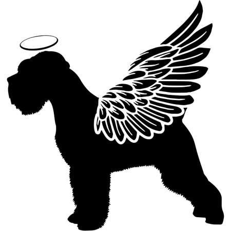 Pet Memorial, Angel Wings Miniature Schnauzer Dog Silhouette Vector