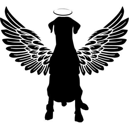 Pet Memorial, Angel Wings Dobermann Dog Silhouette Vector