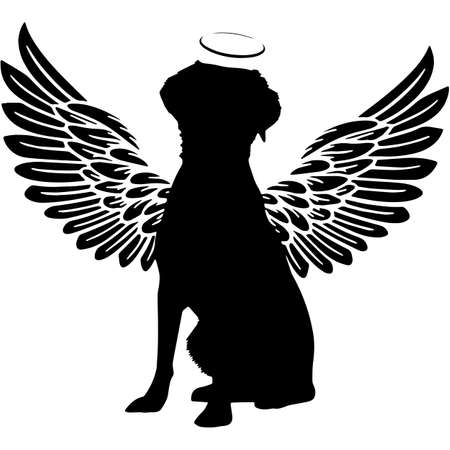 Pet Memorial, Angel Wings Brittany Spaniel Dog  Silhouette Vector 写真素材 - 158518652