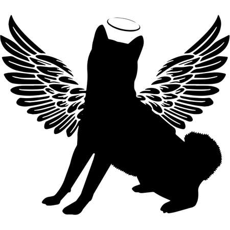 Pet Memorial, Angel Wings Shiba Inu Silhouette Vector