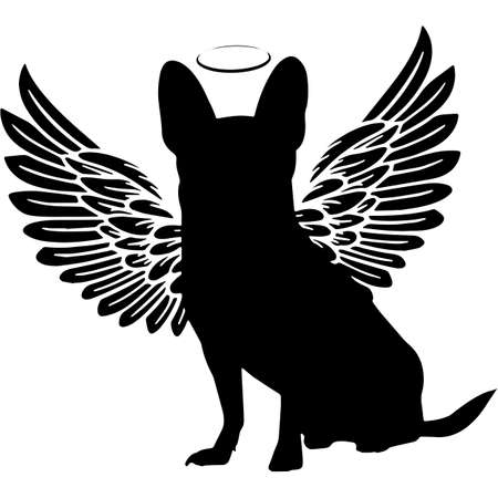 Pet Memorial, Angel Wings Chihuahua Dog Silhouette Vector