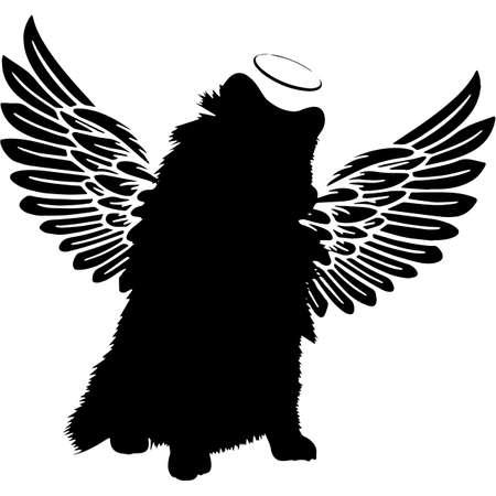 Pet Memorial, Angel Wings Pomeranian  Silhouette Vector Ilustração