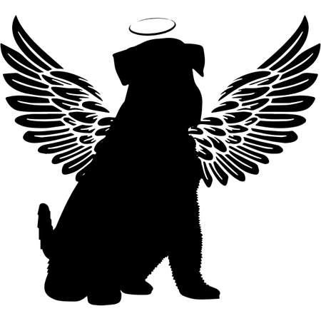 Pet Memorial, Angel Wings Miniature Schnauzer Dog Silhouette Vector Ilustración de vector