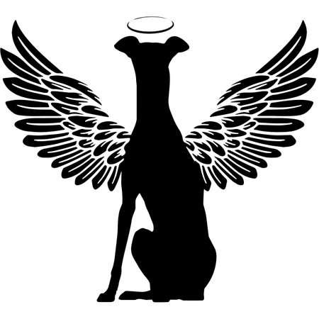 Pet Memorial, Angel Wings Greyhound Silhouette Vector