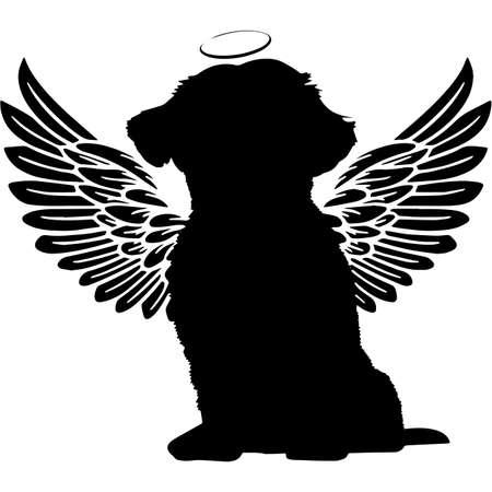 Pet Memorial, Angel Wings Shih Tzu Dog Silhouette Vector Vector Illustration