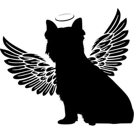 Pet Memorial, Angel Wings Westie dog Silhouette Vector